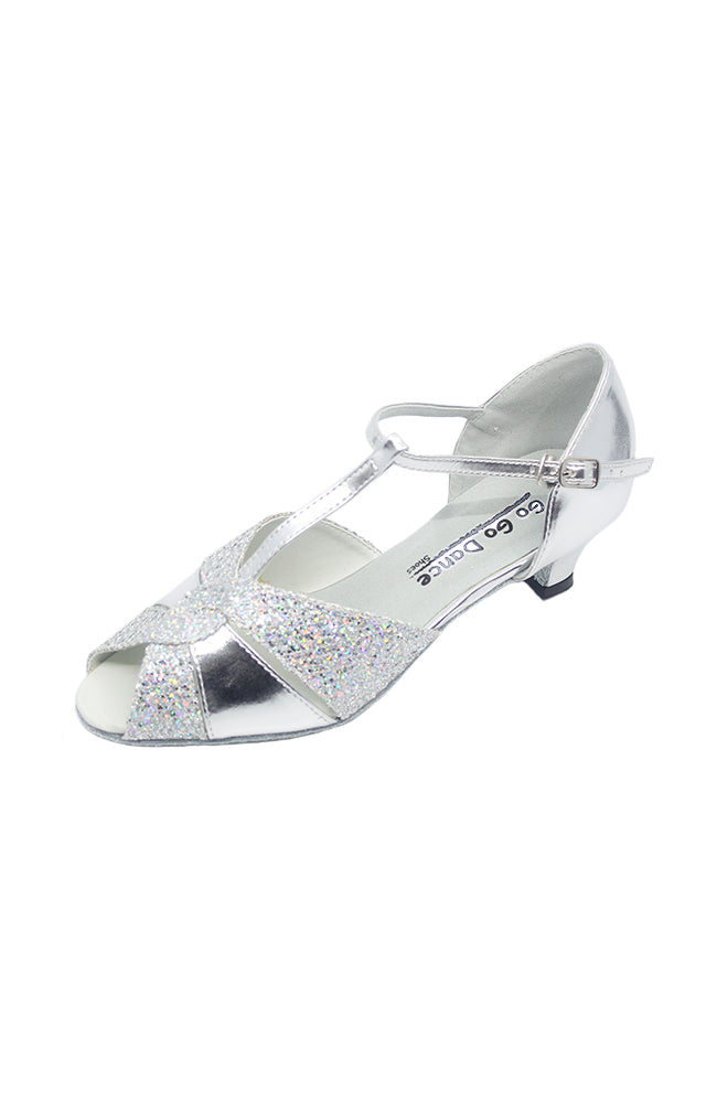 Go Go Dance GO7053 Silver Leather Sparkle 1.3 Inch Heel Ballroom Shoe