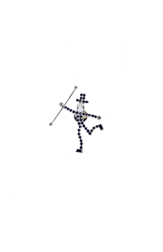 Jazz Man with Cane Crystal Rhinestone Pin