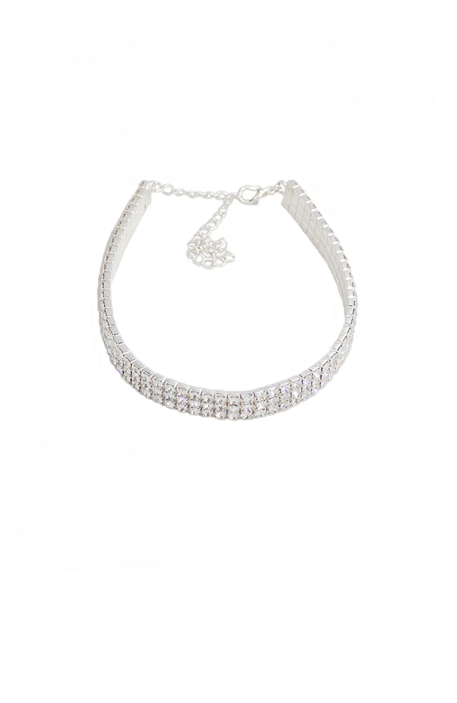 Adult 3 Row Clear Crystal Rhinestone Choker
