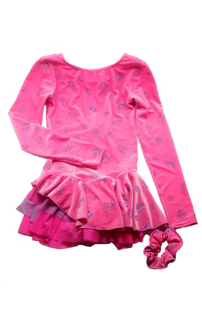 Mondor 12911 Long Sleeve Skate Dress Pink Explosion