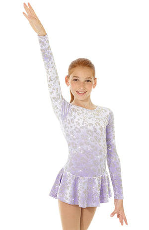 Mondor 2723 Child Lilac Velvet Long Sleeve Skating Dress