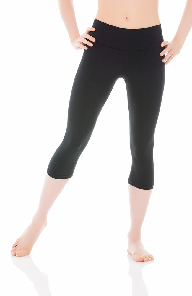 Mondor 3532 Adult Black Wide Waistband Capri Leggings