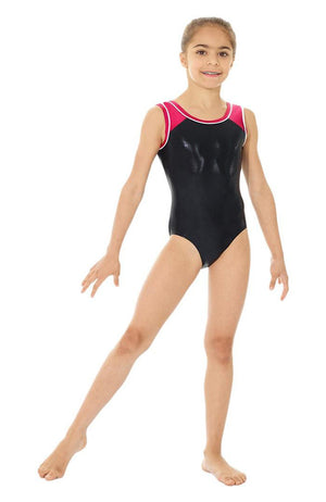 Mondor 7891 Child Black and Pink Metallic Gymnastics Bodysuit