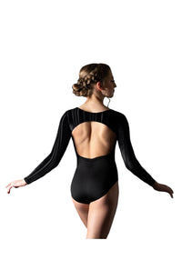 Motionwear 2135 546 Shay Velour Stripe Open Back Leotard Back
