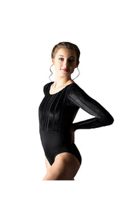 Motionwear 2135 546 Shay Velour Stripe Open Back Leotard Front