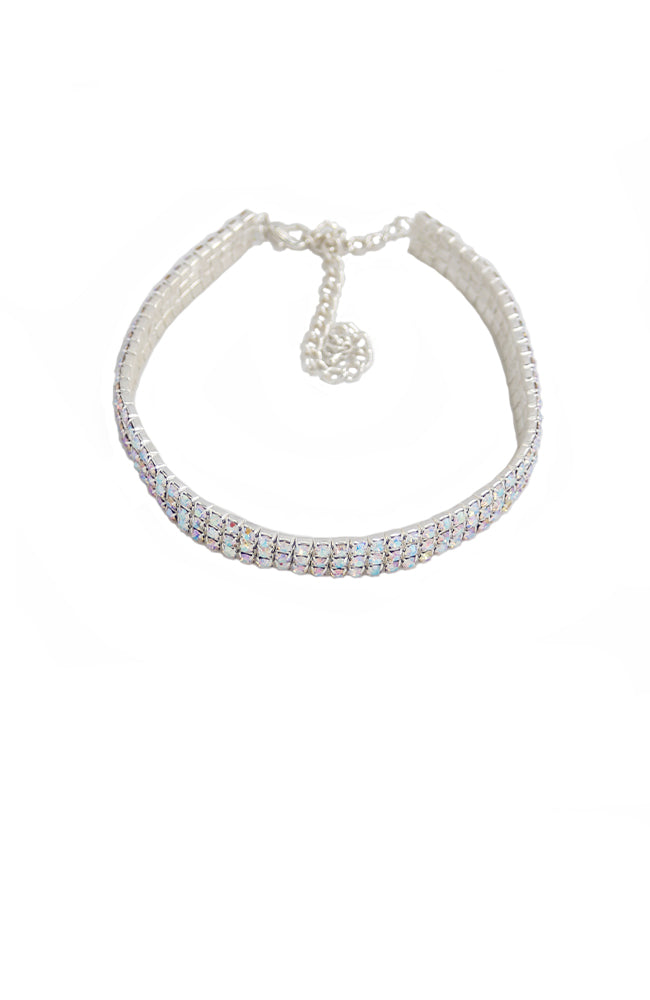 Adult 3 Row Iridescent Rhinestone Choker