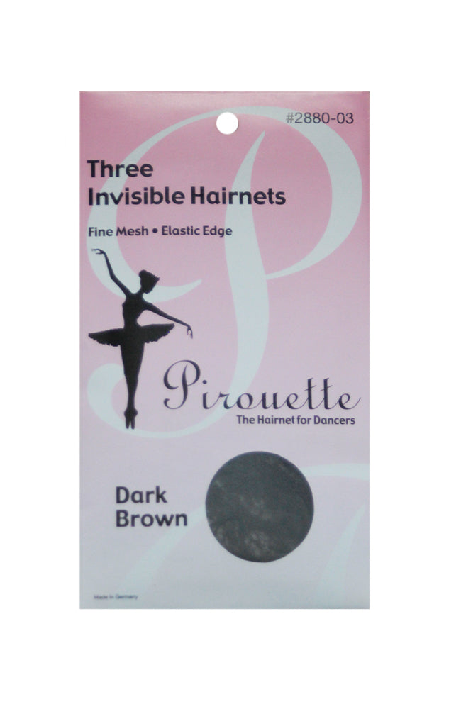 Pirouette 2880-03 Three Invisible Hairnets Dark Brown