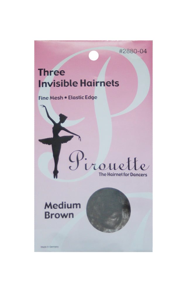 Pirouette 2880-04 Three Invisible Hairnets Medium Brown