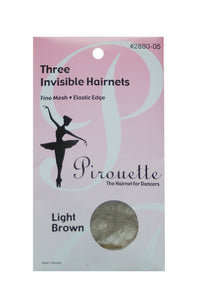 Pirouette 2880-05 Three Invisible Hairnets Light Brown