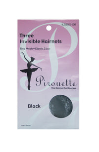 Pirouette 2880-06 Three Invisible Hairnets Black