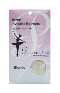 Pirouette 2880-24 Three Invisible Hairnets Blonde