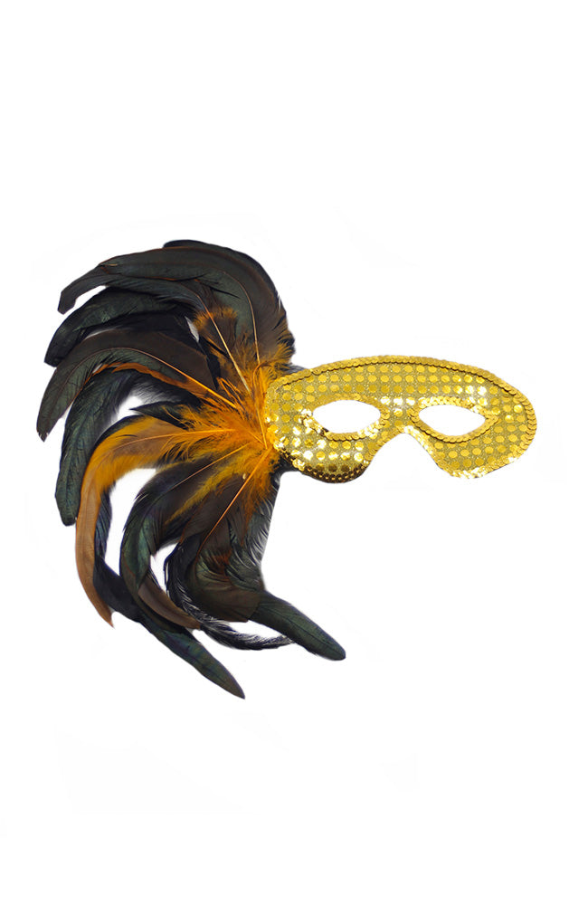 Sequin Feather Eyemask 50247 Gold