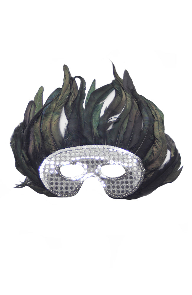 Sequin Feather Eyemask 50247 Silver