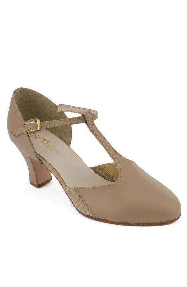 So Danca CH56 Taupe Leather Sole T-Strap Character Shoes