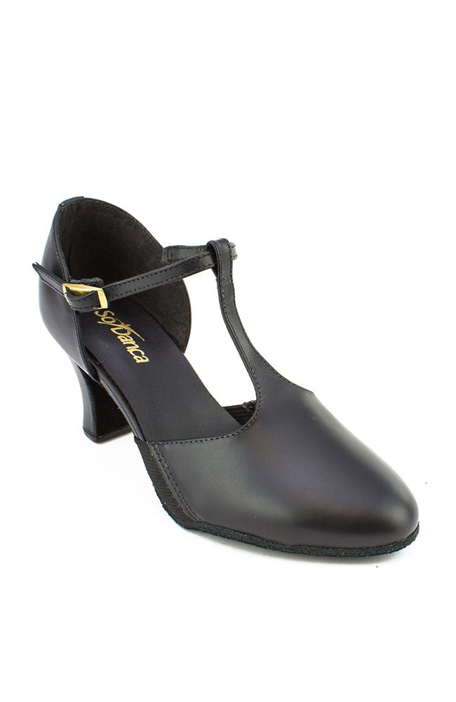 So Danca CH57 Black T-Strap Character Shoes with Suede Sole and Snap-on Buckle