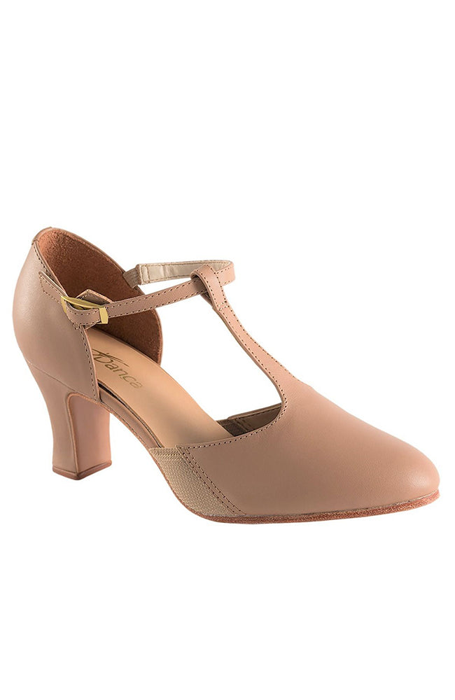 So Danca CH57 Caramel T-Strap Character Shoes with Suede Sole and Snap-on Buckle