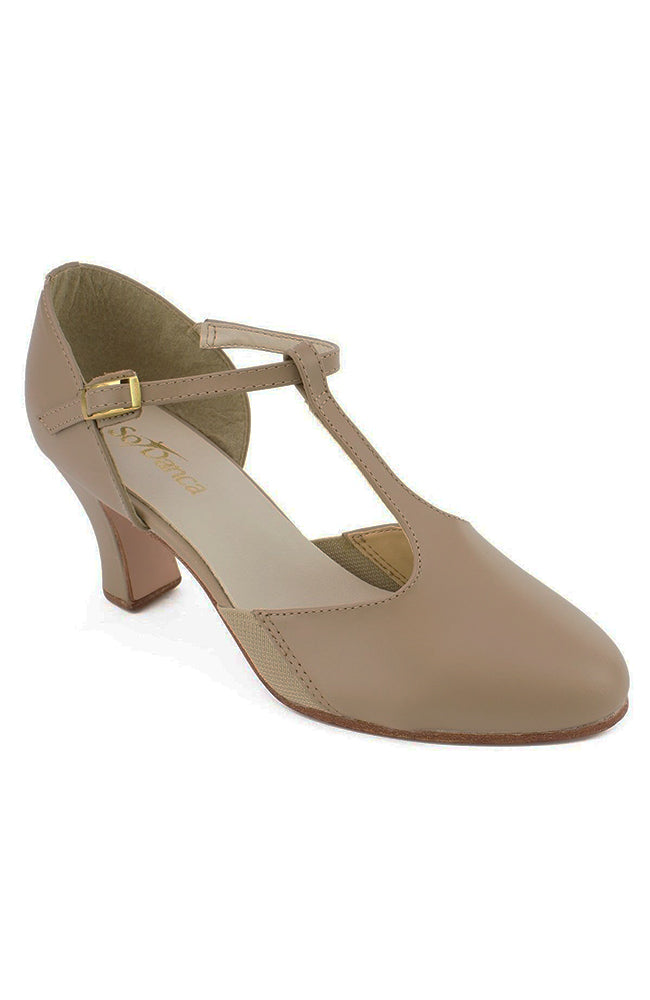 So Danca CH57 Taupe T-Strap Character Shoes with Suede Sole and Snap-on Buckle