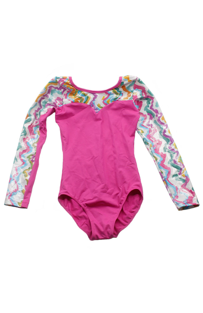 So Danca L-693ME DK Pink Child Long Sleeve Gym Bodysuit Front