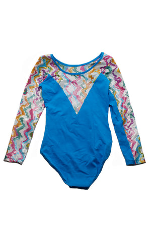 So Danca L-693ME Sky Blue Child Long Sleeve Gym Bodysuit Back