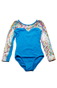 So Danca L-693ME Sky Blue Child Long Sleeve Gym Bodysuit Front