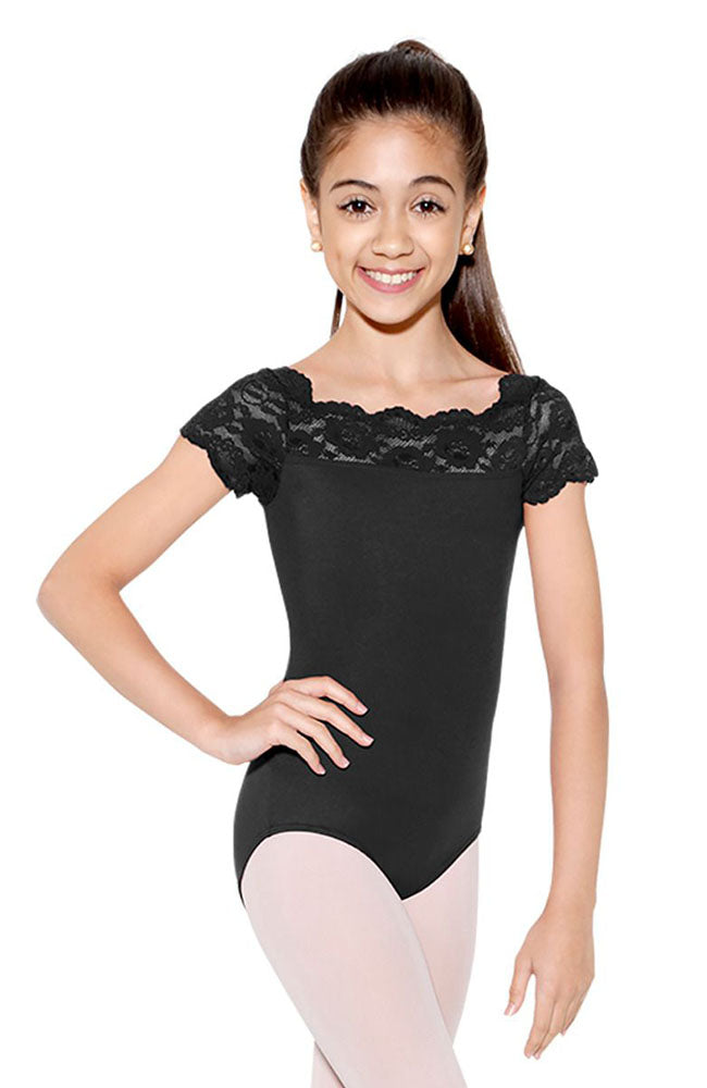 So Danca SL17 Child Black Lace Cap Sleeve Bodysuit