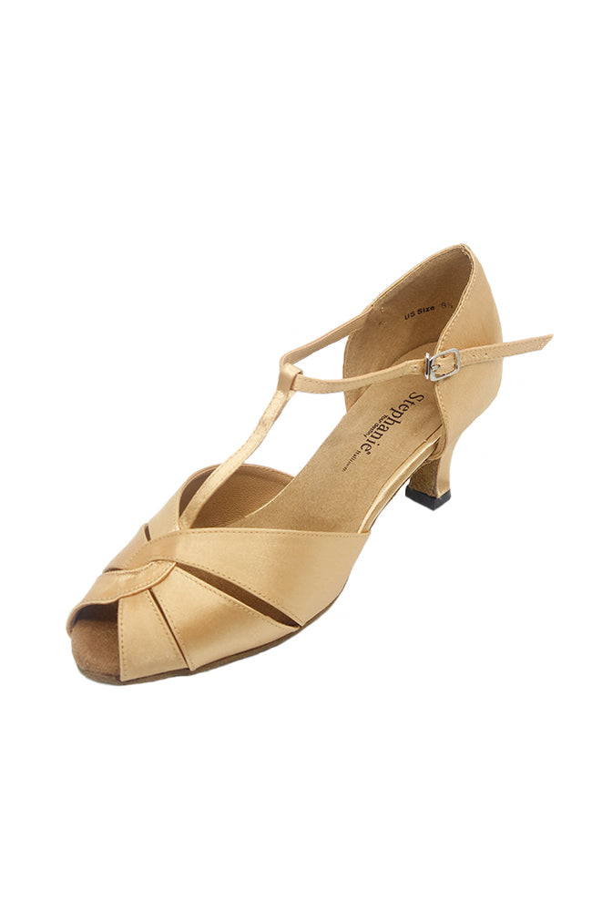 Stephanie 12018-55 2 Inch Tan Satin Ballroom Dance Shoes