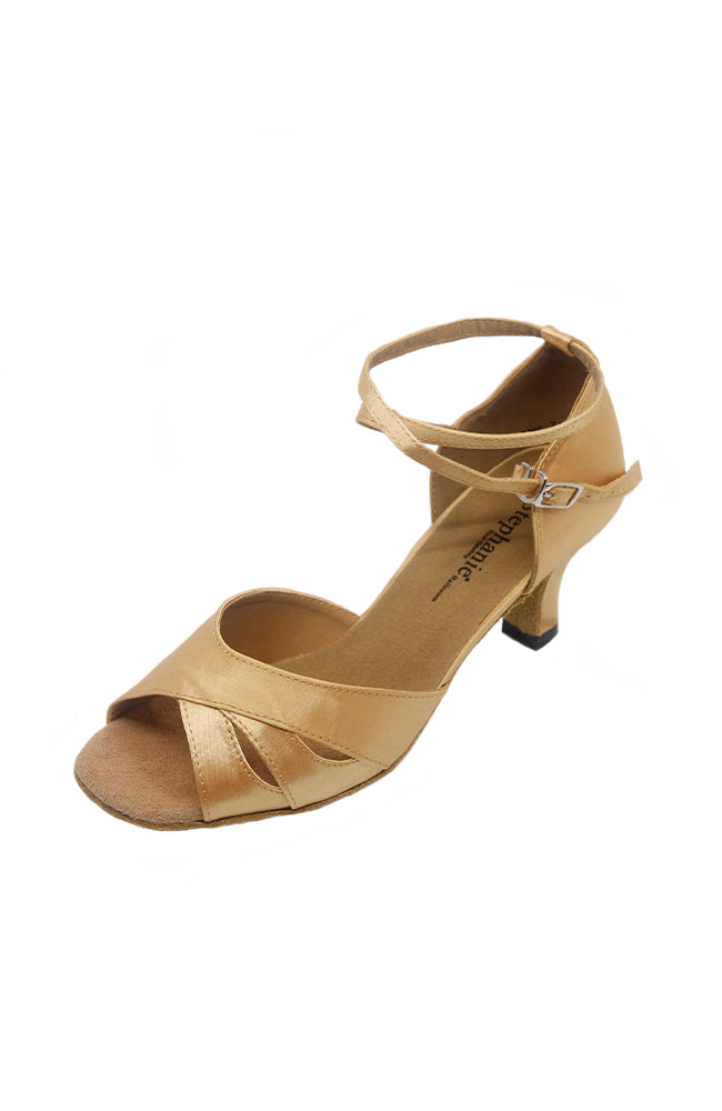 Stephanie 12023 2 Inch Tan Satin Ballroom Dance Shoe