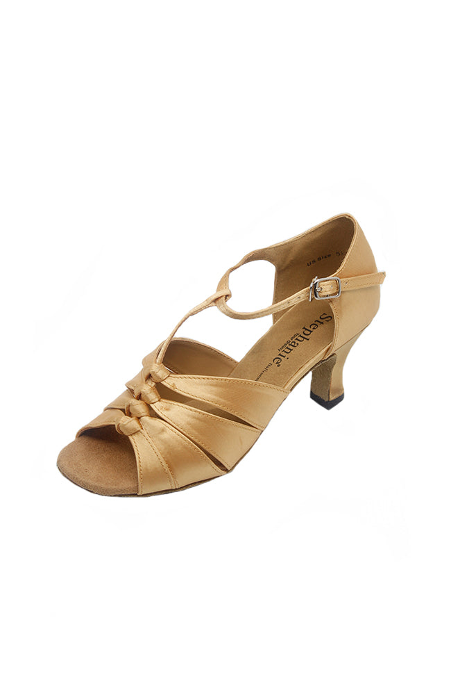 Stephanie 12024-55 2 Inch Tan Satin Ballroom Shoes