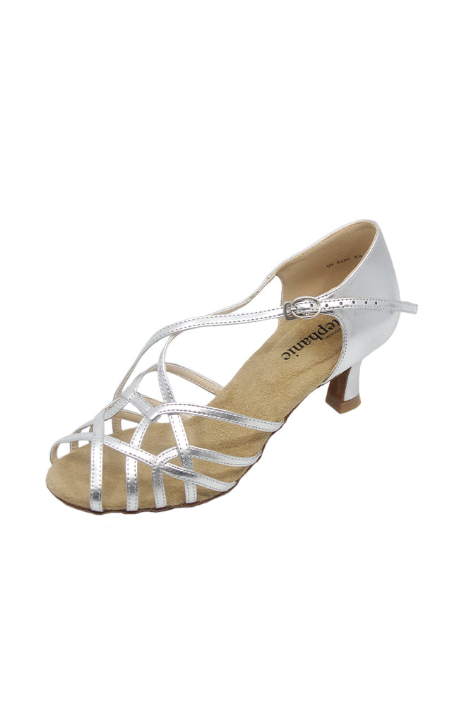 Stephanie 12040-42 2 Inch Silver Leather Ballroom Shoes