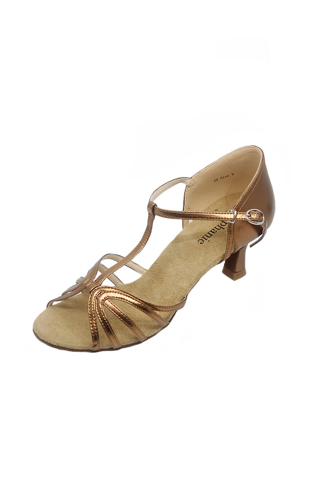 Stephanie 12046-52 2 Inch Bronze Leather Ballroom Shoes