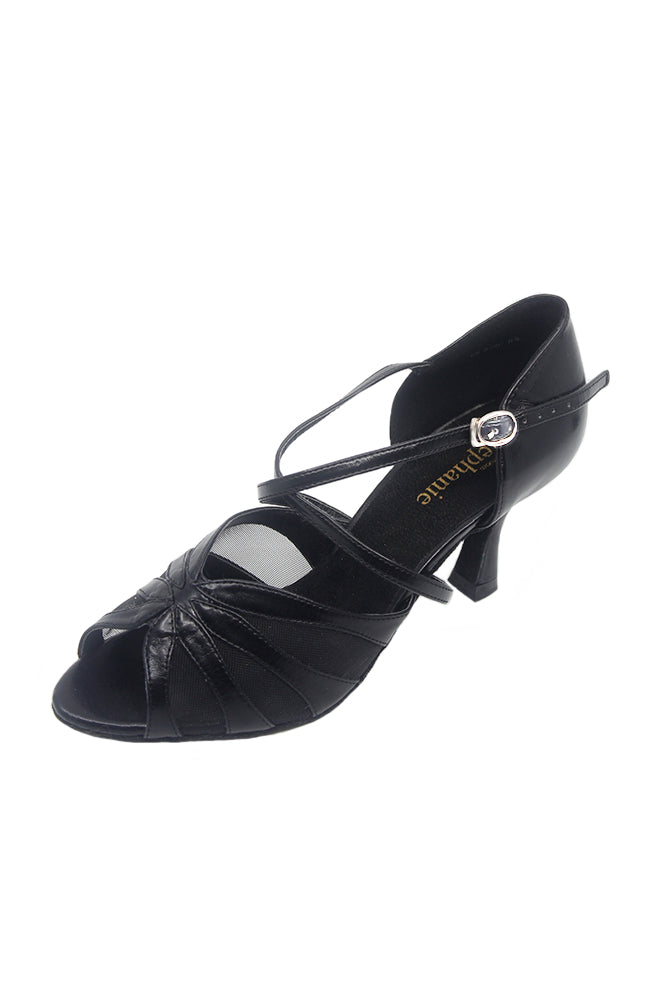 Stephanie 12054-11 2.5 Inch Black Leather Ballroom Shoe
