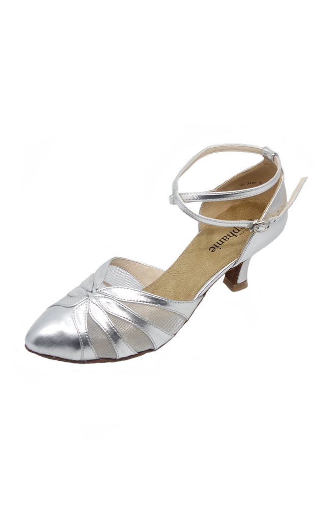 Stephanie 15023-42 2 Inch Silver Leather Ballroom Shoes