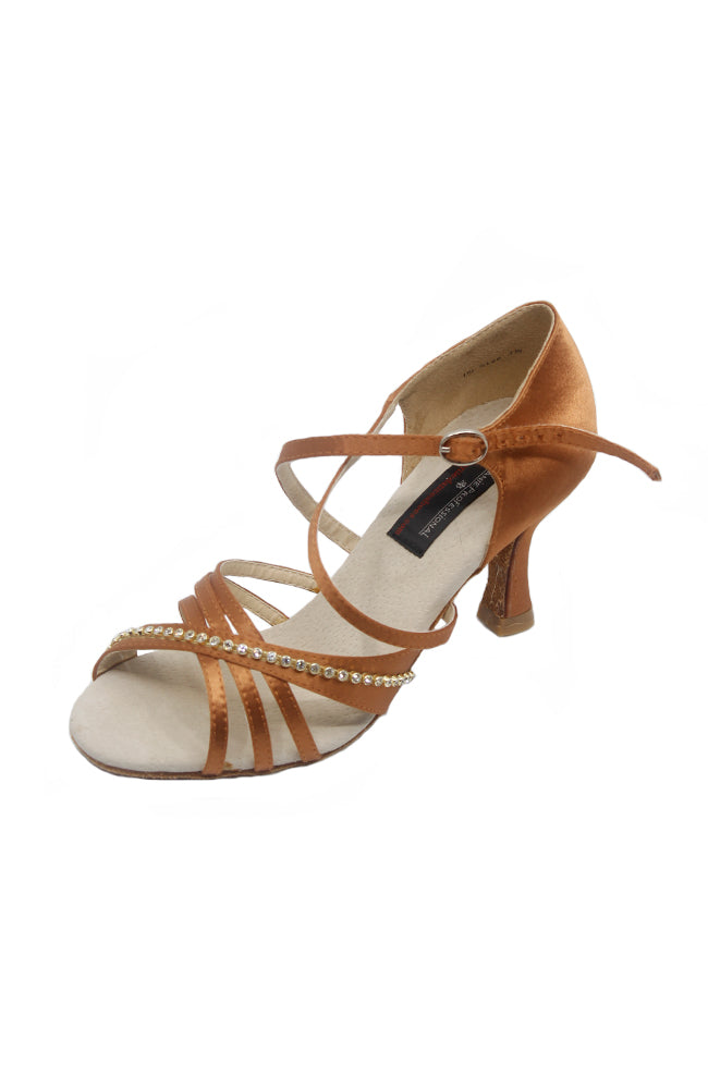 Stephanie 92020-45 2.5 inch Dark Tan Satin Ballroom Shoe