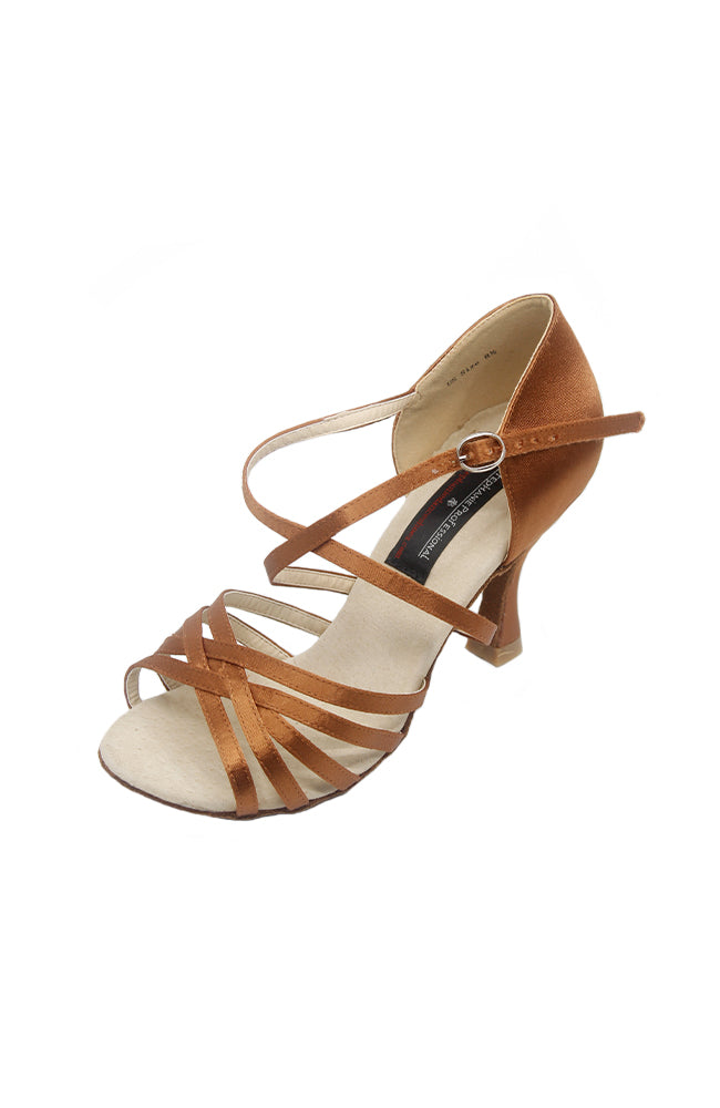 Stephanie EO145 3 Inch Dark Tan Satin Ballroom Shoe