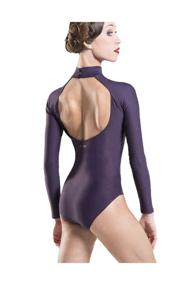 Wear Moi Azel Mock Neck Leotard Prune Back