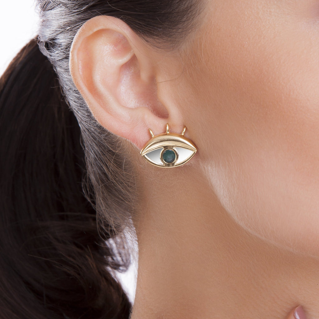 LOOK S EARRING - EMERALD-MIRROR - REFLEXO