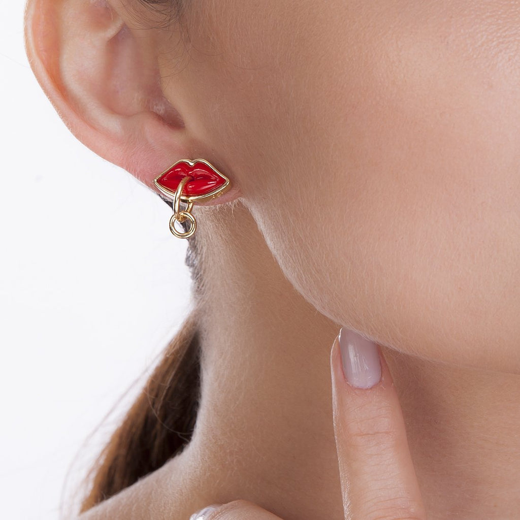 SMALL KISS EARRING - RED - KISS ME