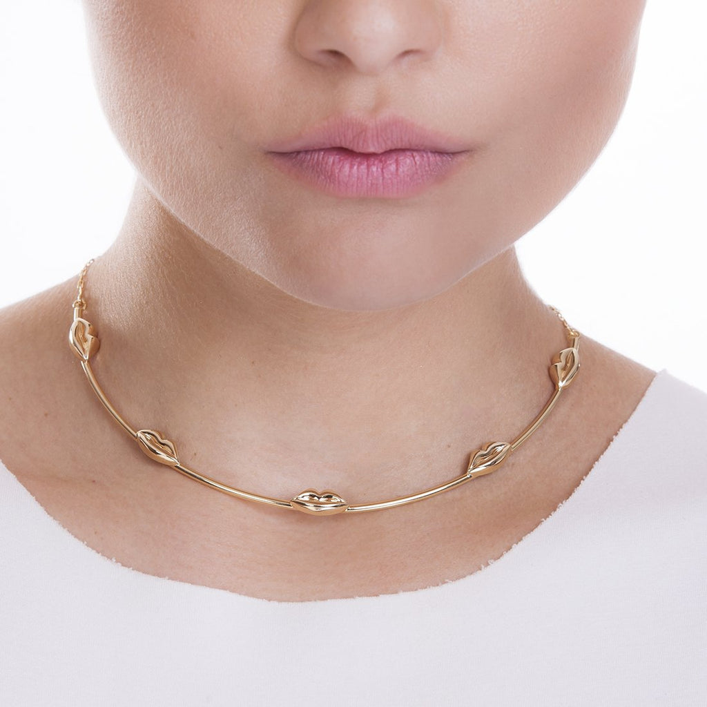 LOTS OF KISSES NECKLACE - OURO - KISS ME