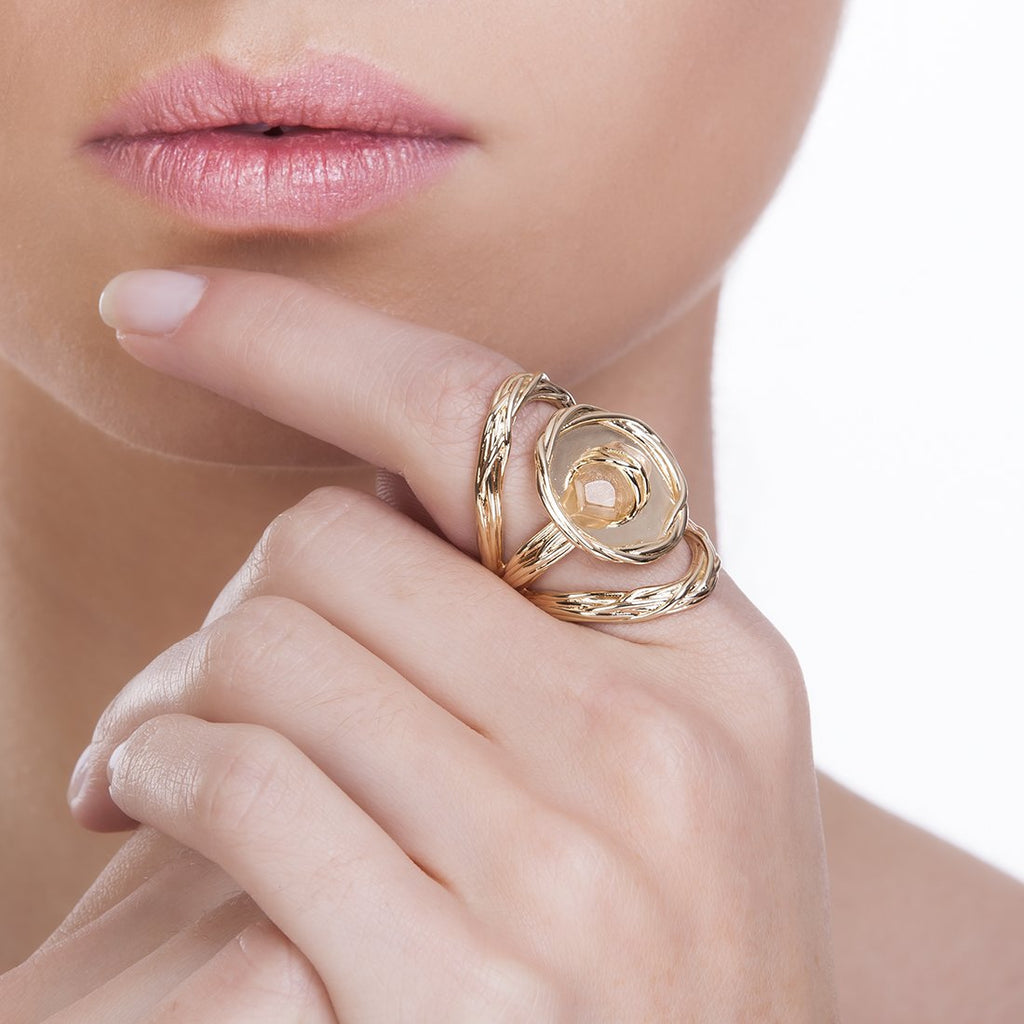 MEDAL RING - ROSE QUARTZ - ORIGENS
