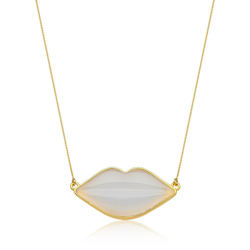 LIP KISS NECKLACE - WHITE AGATE - KISS ME