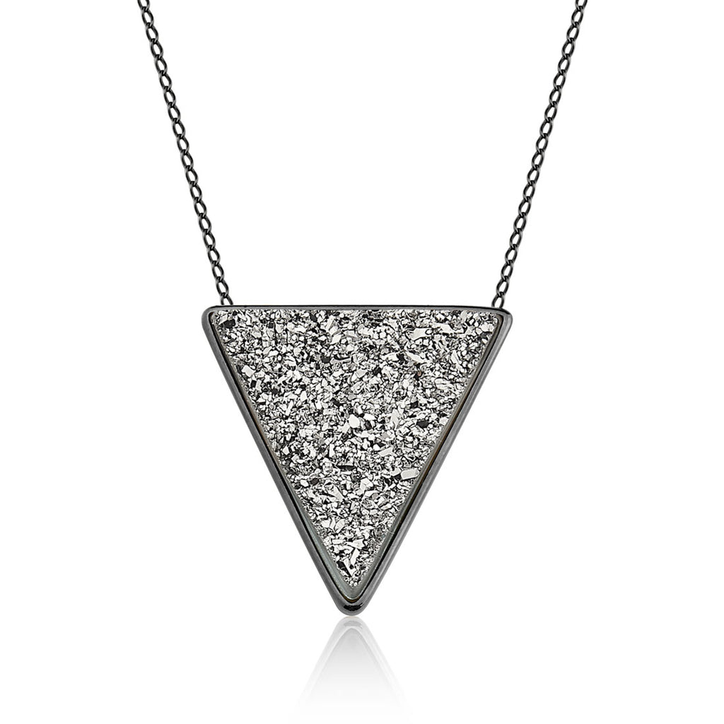CORRENTE TRIANGLE - DRUSA METALIZADA RHODIUM - ICONE