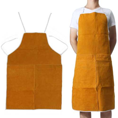 Cow Leather Aprons Welding Heat Insulation Protection Welders Blacksmith 93x64cm - Kitchen Shop Deals