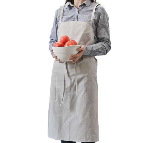 Cotton Aprons Kitchen Baking Overalls Pure Warm Color Simple Plain Style Apron - Kitchen Shop Deals
