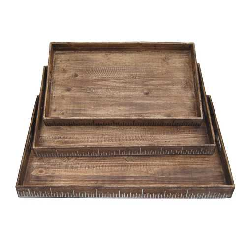 "19"" X 12"" Brown Wood Tray Set - Kitchen Shop Deals"
