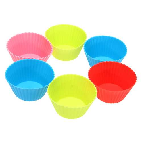 10Pcs Silicone Round Cake Muffin Chocolate Molds Cup Cake Cups - Kitchen Shop Deals