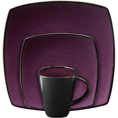 Gibson Soho Lounge Square 16-piece dinnerware set Purple - Kitchen Shop Deals