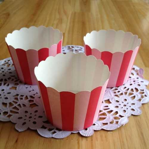 20PCS  High Temperature Resistant Middle Red Pink Stripe Paper Cake Cup - Kitchen Shop Deals