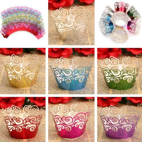 12pcs 7 Colors Filigree Cup Cake Wrappers Wrap Case Wedding Birthday Party Supplies - Kitchen Shop Deals