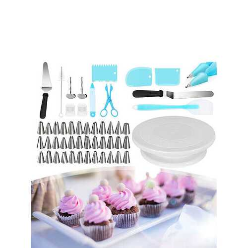 52-piece Set Cake Turntable 32 Pcs Piping Tips Set - Kitchen Shop Deals