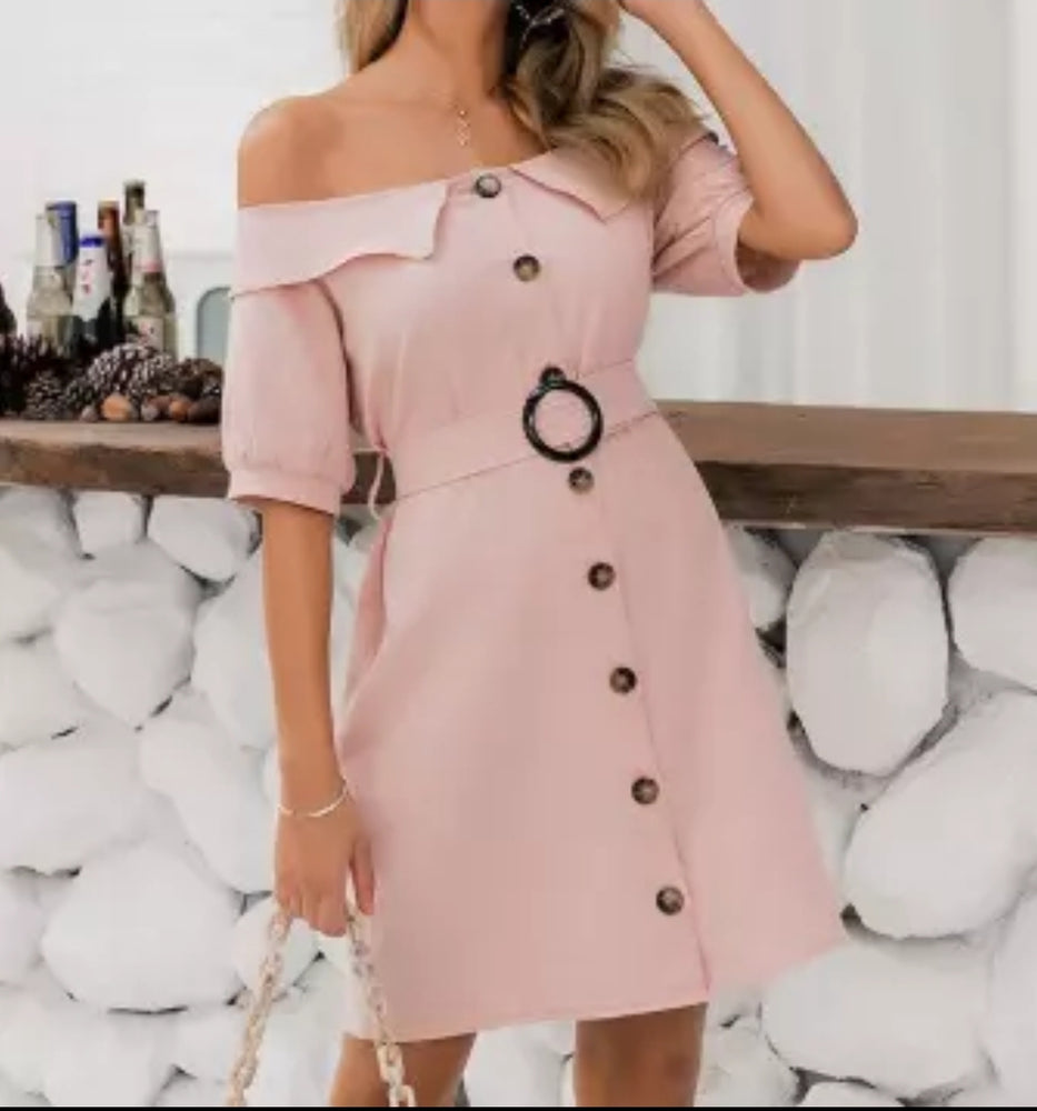 Off Shoulder Single Breasted Dress